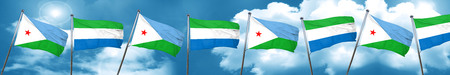 djibouti: Djibouti flag with Sierra Leone flag, 3D rendering Stock Photo