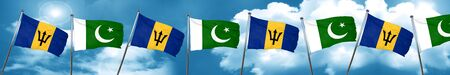 flag of pakistan: Barbados flag with Pakistan flag, 3D rendering