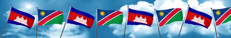 Cambodia flag with Namibia flag, 3D rendering