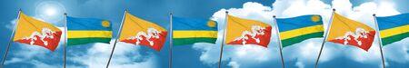 Bhutan flag with rwanda flag, 3D rendering