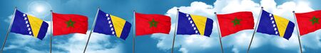 Bosnia and Herzegovina flag with Morocco flag, 3D rendering Stock Photo