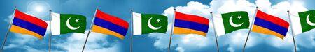 Armenia flag with Pakistan flag, 3D rendering Stock Photo