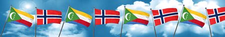 Bandera de Comoras con la bandera de Noruega, representación 3D