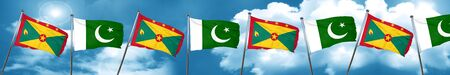 flag of pakistan: Grenada flag with Pakistan flag, 3D rendering