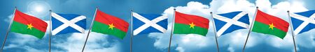 Burkina Faso flag with Scotland flag, 3D rendering