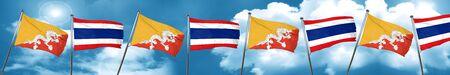 bhutan: Bhutan flag with Thailand flag, 3D rendering Stock Photo