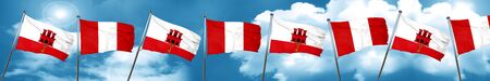 gibraltar flag with Peru flag, 3D rendering Stock Photo