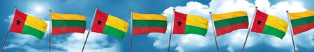 Guinea bissau flag with Lithuania flag, 3D rendering Stock Photo