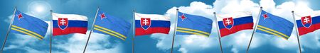 aruba flag with Slovakia flag, 3D rendering