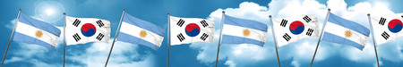 Argentina flag with South Korea flag, 3D rendering Stock Photo