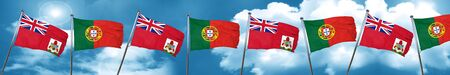 portugese: bermuda flag with Portugal flag, 3D rendering