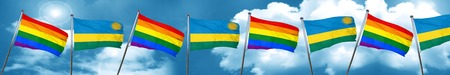 Gay pride flag with rwanda flag, 3D rendering