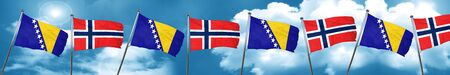 norway flag: Bosnia and Herzegovina flag with Norway flag, 3D rendering