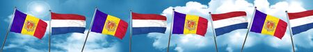 Andorra flag with Netherlands flag, 3D rendering Stock Photo