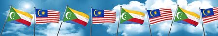 Comoros flag with Malaysia flag, 3D rendering