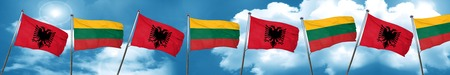 lithuania: Albania flag with Lithuania flag, 3D rendering Stock Photo