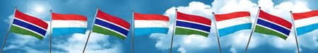 gambia: Gambia flag with Luxembourg flag, 3D rendering Stock Photo