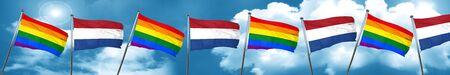 Gay pride flag with Netherlands flag, 3D rendering
