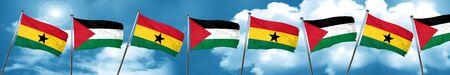 ghanese: Ghana flag with Palestine flag, 3D rendering