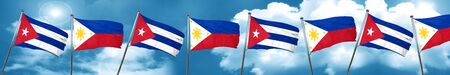 cuban culture: Cuba flag with Philippines flag, 3D rendering