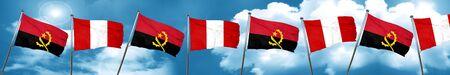 bandera de peru: Angola flag with Peru flag, 3D rendering