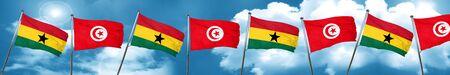 ghanese: Ghana flag with Tunisia flag, 3D rendering