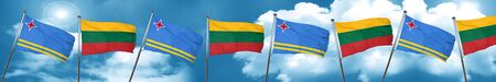 aruba flag with Lithuania flag, 3D rendering