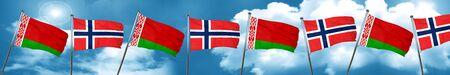 norway flag: Belarus flag with Norway flag, 3D rendering Stock Photo