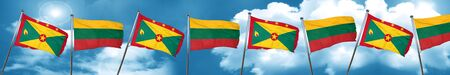 Grenada flag with Lithuania flag, 3D rendering