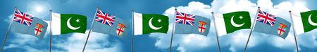 Fiji flag with Pakistan flag, 3D rendering Stock Photo