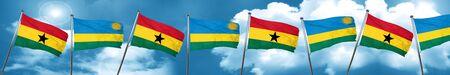 ghanese: Ghana flag with rwanda flag, 3D rendering