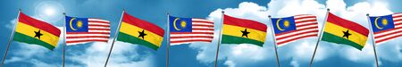 Ghana flag with Malaysia flag, 3D rendering Stock Photo