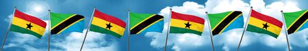 Ghana flag with Tanzania flag, 3D rendering Stock Photo