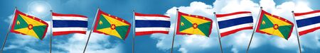 Grenada flag with Thailand flag, 3D rendering