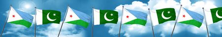 flag of pakistan: Djibouti flag with Pakistan flag, 3D rendering