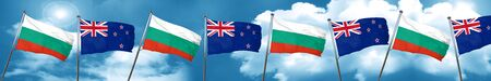 bulgaria flag with New Zealand flag, 3D rendering