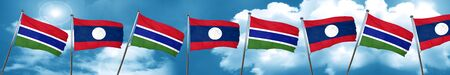 gambia: Gambia flag with Laos flag, 3D rendering