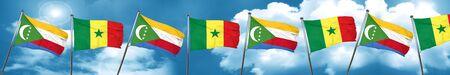 Comoros flag with Senegal flag, 3D rendering