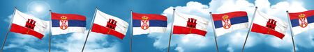 gibraltar flag with Serbia flag, 3D rendering