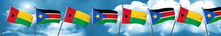 Guinea bissau flag with South Sudan flag, 3D rendering Stock Photo