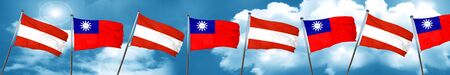 Austria flag with Taiwan flag, 3D rendering
