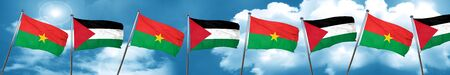 Burkina Faso flag with Palestine flag, 3D rendering