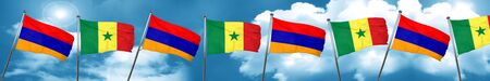 Armenia flag with Senegal flag, 3D rendering Stock Photo