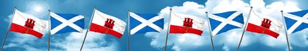 gibraltar flag with Scotland flag, 3D rendering