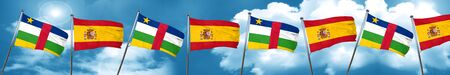 central african republic: Central african republic flag with Spain flag, 3D rendering