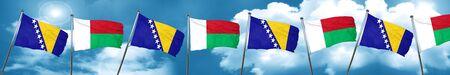 Bosnia and Herzegovina flag with Madagascar flag, 3D rendering