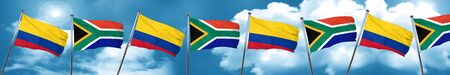 Colombia flag with South Africa flag, 3D rendering