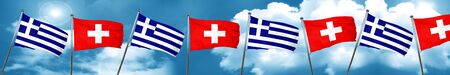 Greece flag with Switzerland flag, 3D rendering