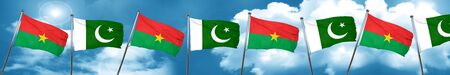 Burkina Faso flag with Pakistan flag, 3D rendering
