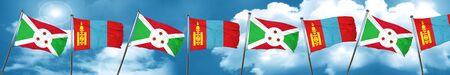 burundi: Burundi flag with Mongolia flag, 3D rendering